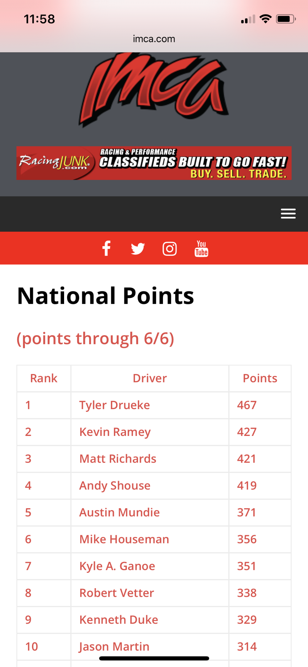 National Points update